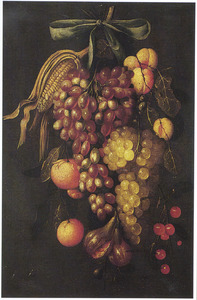 Een festoen van maiskolf, druiven en ander fruit