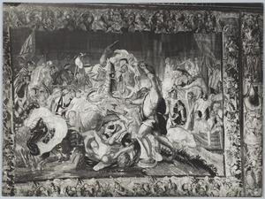 Alexander de Grote raakt gewond aan zijn dijbeen tijdens de slag van Issus
