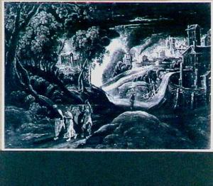 Landschap met de vlucht van Lot en zijn familie uit Sodom (Genesis 19:24-29)