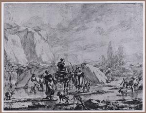 Berglandschap met herders en vee bij doorwaadbare plaats