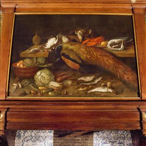 Stilleven met pauw, vissen, groenten en vruchten