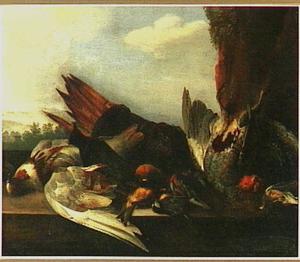 Dode vogels op een balustrade voor een landschap