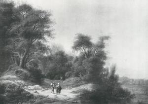Bebost landschap met boeren op een landweg langs een rivier