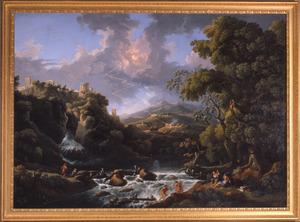 Zuidelijk landschap met gezicht op de waterval en tempel bij Tivoli met onweer en bliksem