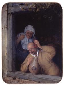 Een proostende boer en een rokende vrouw in een venster