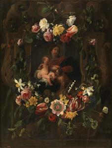 Gebeeldhouwde cartouche versierd met bloemen rondom een voorstelling van de Maagd Maria, het Christuskind en Johannes de Doper
