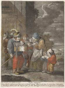Marskramer die een bril verkoopt aan een oude vrouw; allegorie op het Gezicht