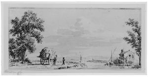 Landschap met rivier en hooiwagen