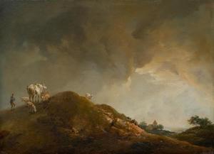 Heuvelllandschap met koeien en schapen