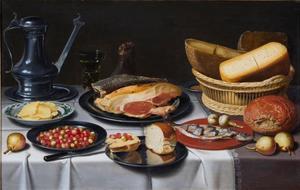 Stilleven met Jan Steen-kan en etenswaren op een tafel