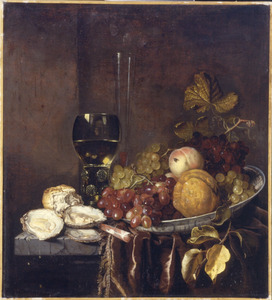 Sttilleven met glaswerk, oesters en fruit op een porseleinen schotel