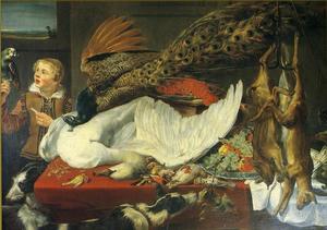 Een jongen die een papegaai voert met een stilleven van jachtbuit, fruit en groente op een tafel