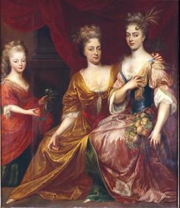 Groepsportret van Henriëtte Albertine (1686-1754) en Henriëtte Casimira van Nassau-Dietz (1696-1738) met hun schoonzuster Marie Louise van Hessen Kassel (1688-1765)