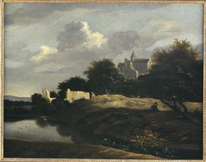 Bebost landschap met een vervallen kasteel
