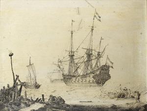 Een galjoen wordt gereedgemaakt voor de afvaart; op het strand op de voorgrond wordt een sloep geladen