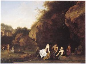 Badende vrouwen voor een grot in een rotsachtig landschap