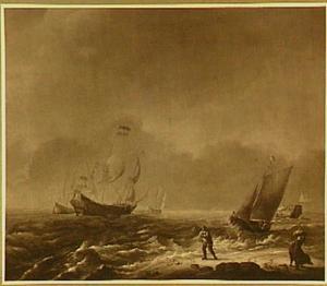 Schepen op zee; rechts op de voorgrond wordt een visserspink voortgetrokken