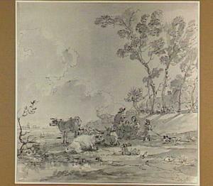 Herdersfamilie met koeien aan een oever