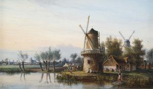 Hollands landschap met molen met stad op de achtergrond