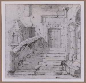 De trap van het voormalige Elisabethsgasthuis naast het stadhuis op de Dam te Amsterdam