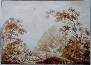 Italianiserend heuvellandschap met herder