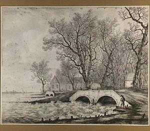 Gezicht op de sluizen van de Over- en Nederwaard bij Dordrecht, gezien vanaf de Lekzijde, tijdens de overstromingen van januari 1809