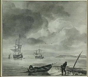 Kustgezicht met vissers, op de achtergrond zeilschepen