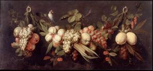 Fruitstilleven en een vogel