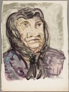 Oude vrouw met hoofddoek