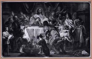 Christus wijst Judas aan als de verrader tijdens het laatste avondmaal