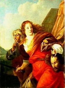 Judith en haar dienares vluchten met het hoofd van Holofernes (Judith 13:11)