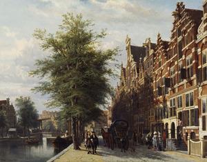 Het Singel bij het Koningsplein te Amsterdam met de Doopsgezinde schuilkerk 'Het Lam'