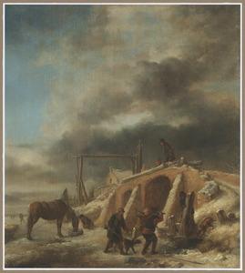 Winterlandschap met jagers op otterjacht bij een opengehakt wak bij een brug