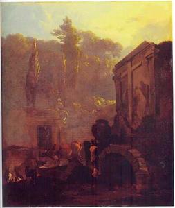 Italiaanse begraafplaats met een herder en vee