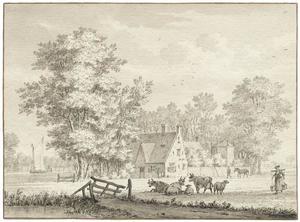 Landschap met boerderij (links in de achtergrond: Hofwijck in Voorburg?)