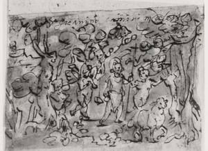 Het kind Johannes de Doper begeleid door engeltjes in de woestijn