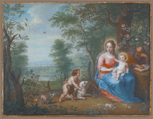 De heilige familie met Johannes in een landschap