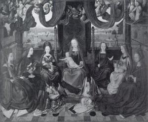Maria en kind met vrouwelijke heiligen