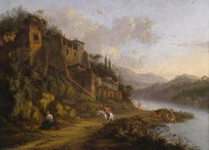 Ruiters langs een rivier in een zuidelijk landschap