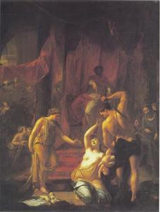 Het oordeel van Salomo: Salomo beveelt een soldaat het levende kind in tweeën te snijden ; De ware moeder smeekt het levende kind zeker niet te doden (1 Koningen 3:25-27)