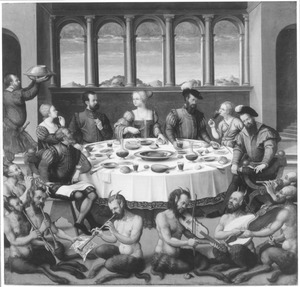 Interieur met een gezelschap aan tafel en musicerende saters