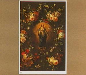Bloemenkrans rond een voorstelling van de Onbevlekte Ontvangenis