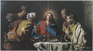 De maaltijd te Emmaus: de discipelen herkennen Christus wanneer hij het brood zegent  (Lucas 24:30-31)