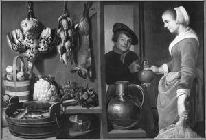 Keukenstuk met keukenmeid en jongen