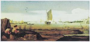 Rivierlandschap met zeilboot