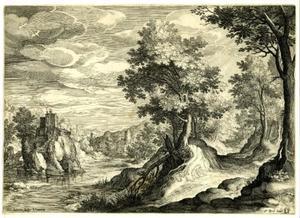 Rivierlandschap met kasteel op een rots
