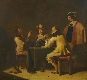Rokende, drinkende en kaartspelende mannen in een interieur