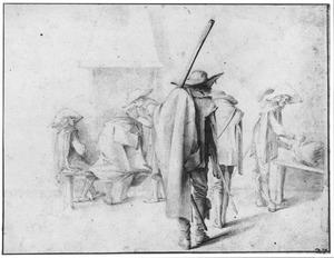 Zes soldaten in een wachtlokaal