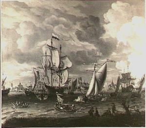 Engels schip begroet een Hollands oorlogsschip op de Nieuwe Maas bij Rotterdam