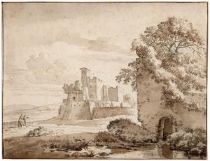 Zuidelijk landschap met kasteel